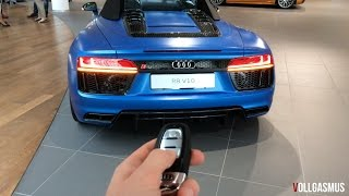 Audi R8 V10 Spyder Matte Blue Audi Exclusive: In Depth, LED Lights, Roof Show and more