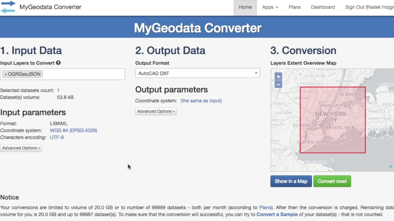 KML to DXF Converter Online - MyGeodata Cloud
