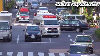 違いは一目瞭然!!緊急走行中でも赤信号で止まる緊急性がそこまでないと思われる救急車と明らかに緊急性を要する救急自動車の比較!Japanese ambulance