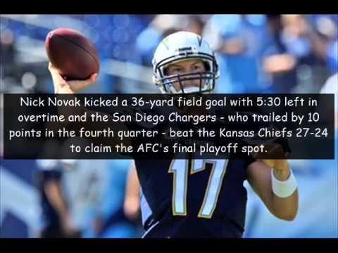 san diego chargers hits claim final afc playoff spot with ot win ...