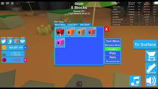 opening my first mythical hat crate in Roblox Mining Simulator