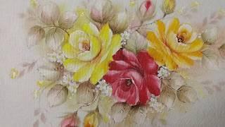 Aprenda Pintar Rosa Amarela e Folhas – Pintura em Tecido