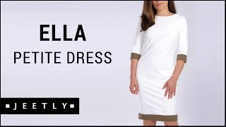 Petite white dress - Ella white dress with brown trim by Jeetly