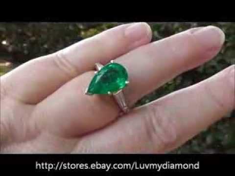 Clean Bright 2.8ct Colombian Emerald Baguette Diamond Platinum 3 stone Ring