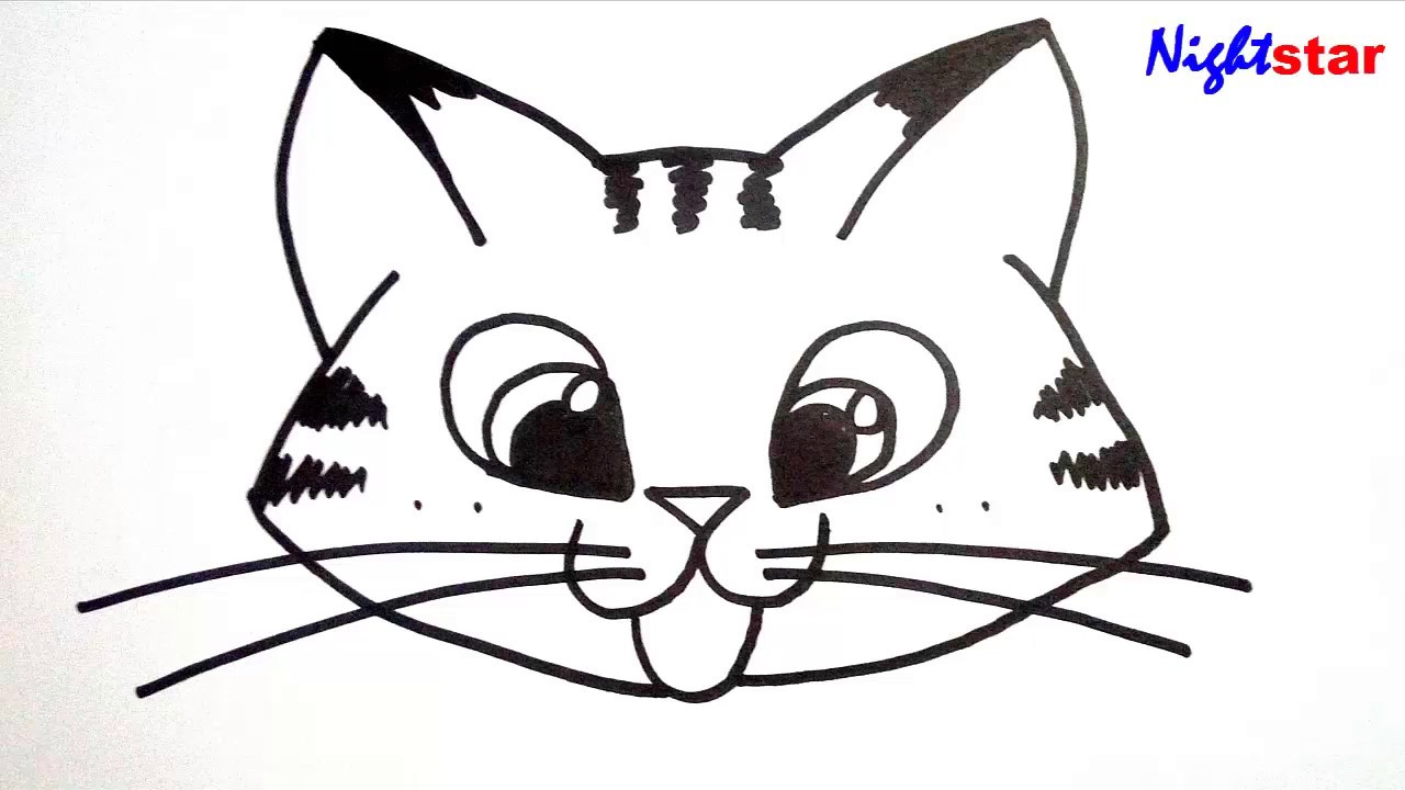 How To Draw A Cute Kitten Face Drawing Art For Kids Cat Youtube