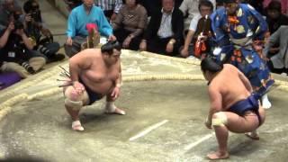 20130929 大相撲秋場所 千秋楽 琴将菊vs妙義龍 がぶる体制になると将...