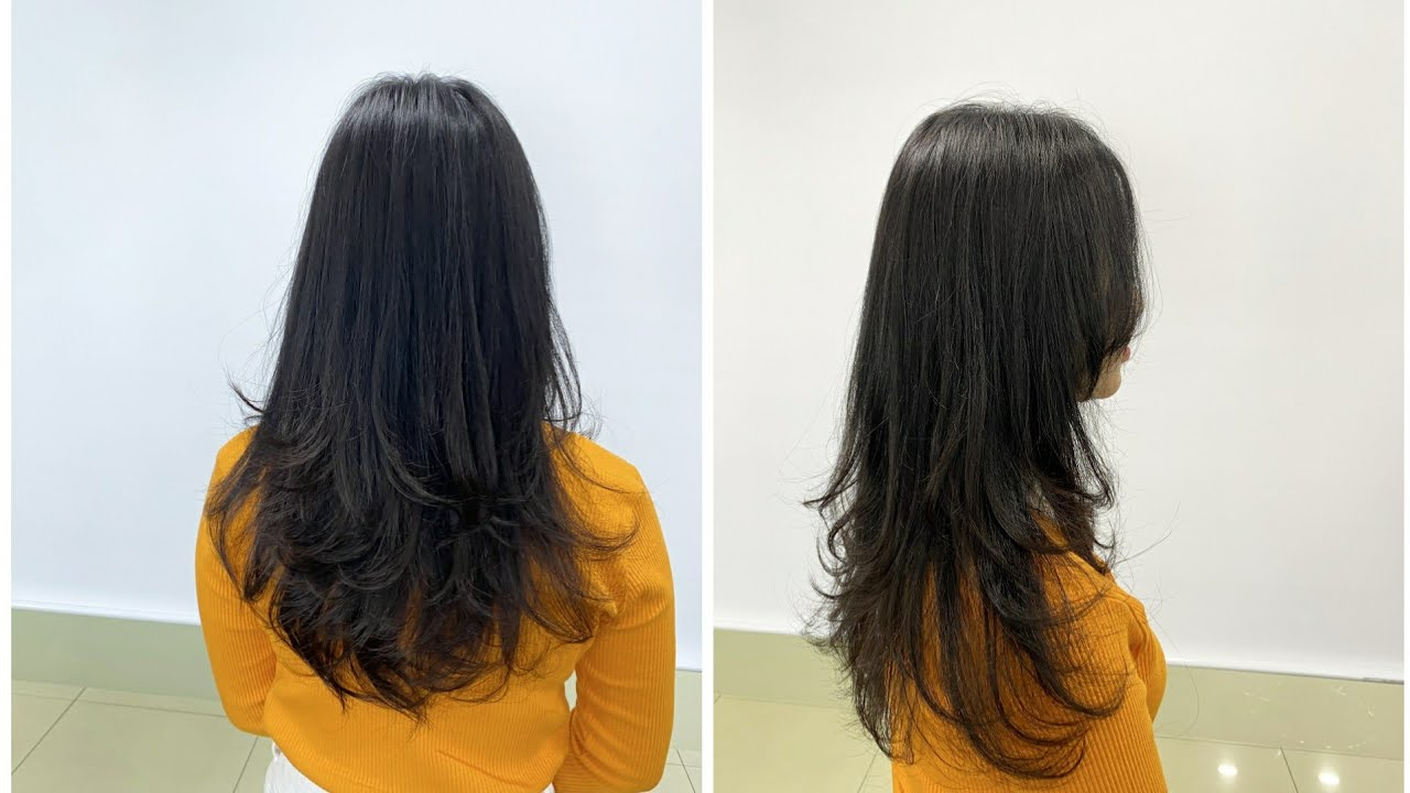 V라인 레이어드컷  how to cut layers style