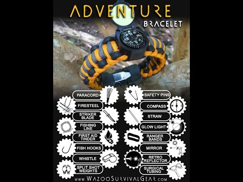 Adventure Wazoo Survival Paracord Bracelet Unboxing Video Adventurer Mountaineer Lumberjack Review