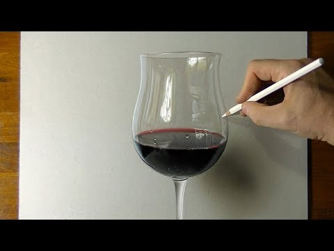 Drawing A Glass Of Wine - How To Draw  3D Art