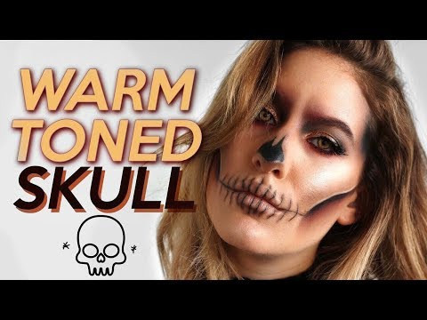 WARM TONED SKULL: HALLOWEEN Makeup Tutorial (Using Makeup You ALREADY Have!)  | Jamie Paige