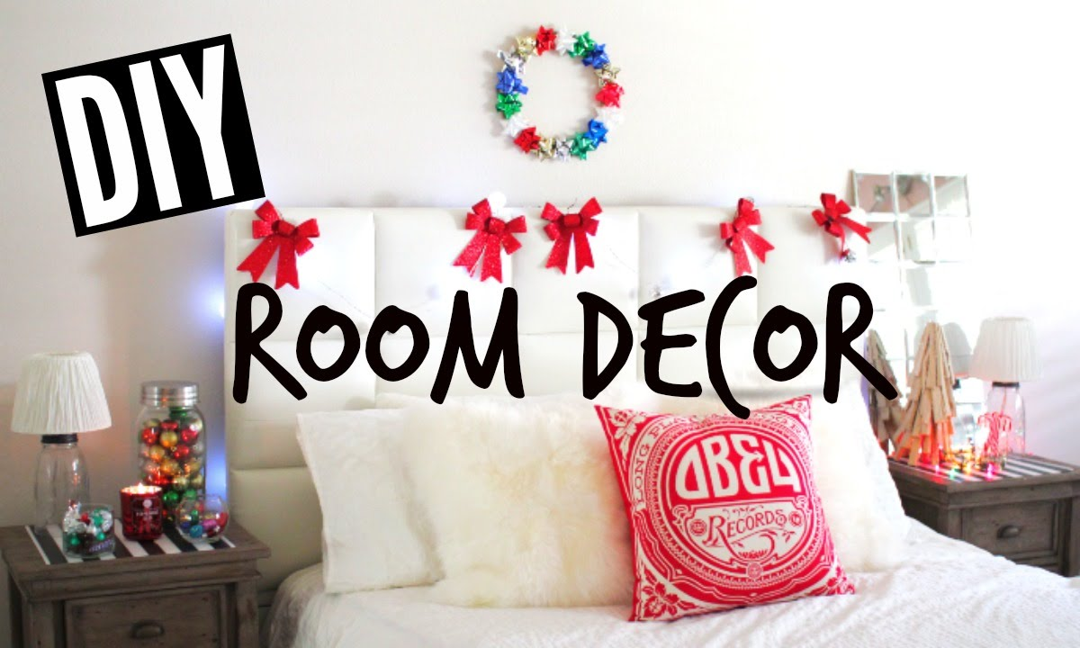 Diy holiday room decor easy tumblr christmas room youtube for Room decor for christmas