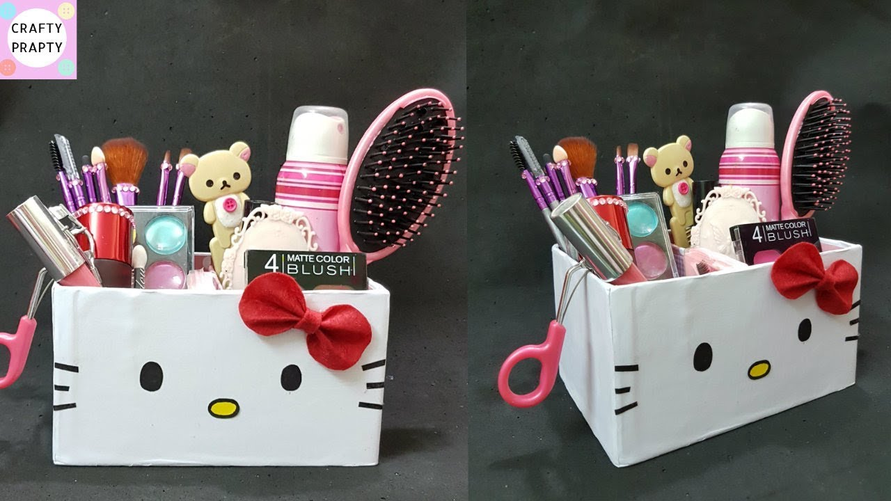 Diy Desk Organizer Makeup Cajas Organizadoras De O Kitty