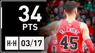 Denzel Valentine Full Career-HIGH Highlights Bulls vs Cavaliers (2018.03.17) - 34 Points, 7 Reb