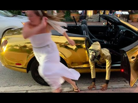 Monkey Man Prank In A GOLD Bentley!