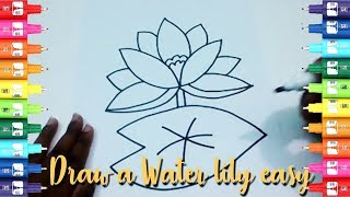 How to draw water lily flower for kids-Easy kids drawing tutorial