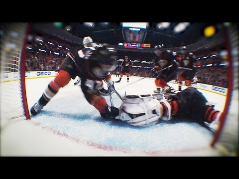 John Gibson saves game with last minute leg save on Gaudreau