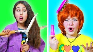 مشاكل الشعر الطويل والقصير في المدرسة || مواقف مضحكة مع الأصدقاء إلى الأبد