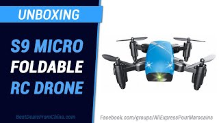 Unboxing Gearbest  S9 Micro Foldable RC Drone - RTF - BLUE STANDARD VERSION