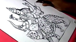 How to Draw LORD DURGA DRAWING step by step for kids