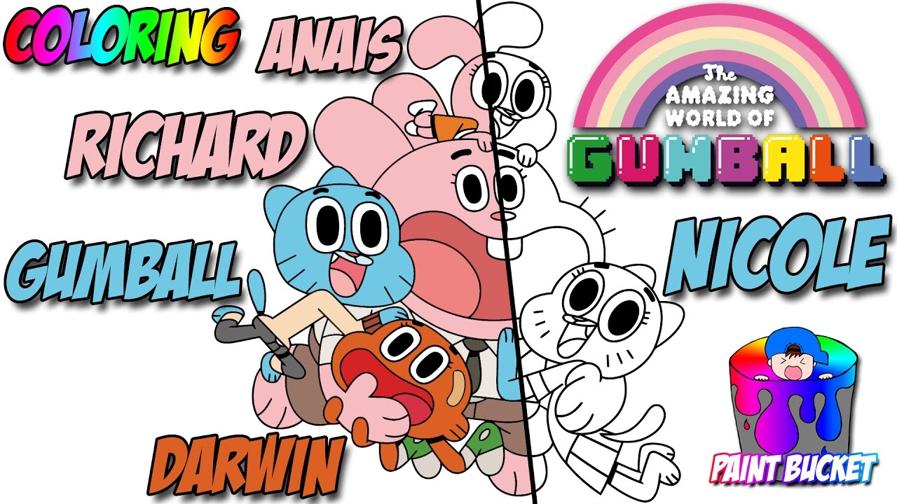 the amazing world of gumball coloring page cartoon network coloring book for kids to learn colors