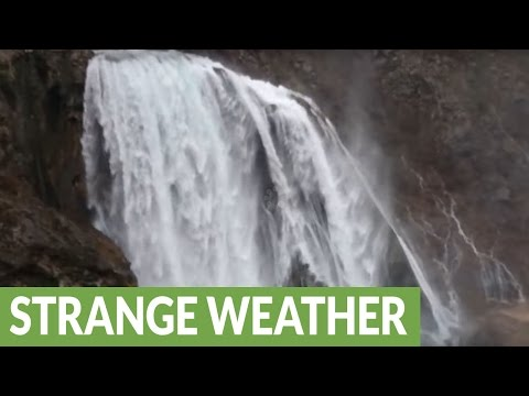 Waterfall in Croatia blown upwards by high winds