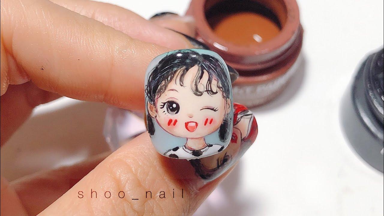 Mẫu nail vẽ chibi bé siêu cute