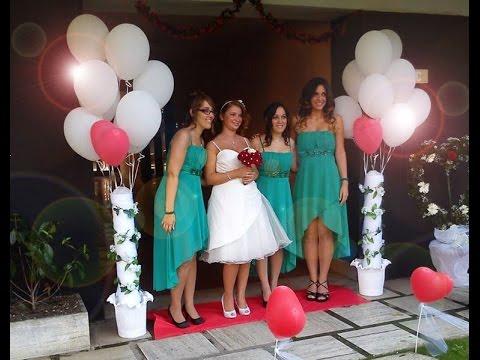 Come abbellire il portone della sposa colonne con palloncini per matrimonio comunione festa - Allestimento casa della sposa ...