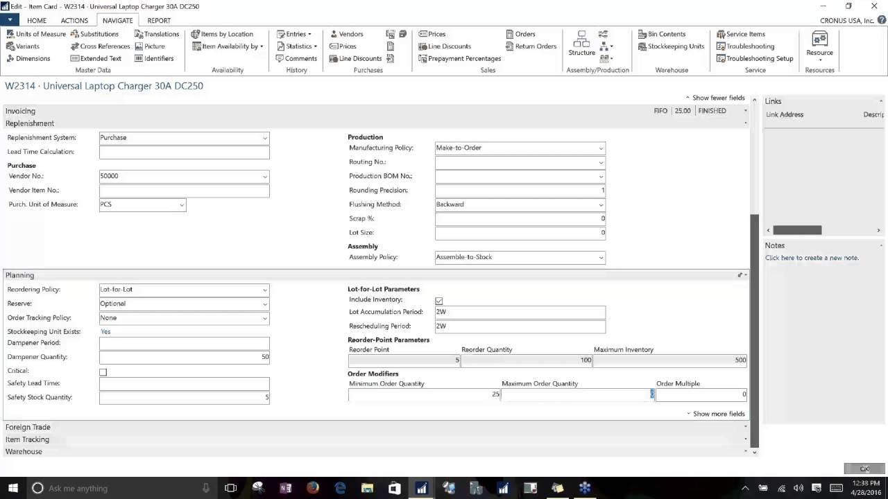 Dynamics Nav 2016 Item Card Setup Planning