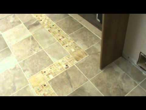 Porcelain Tile With Onyx Border - Krahft Woodwork