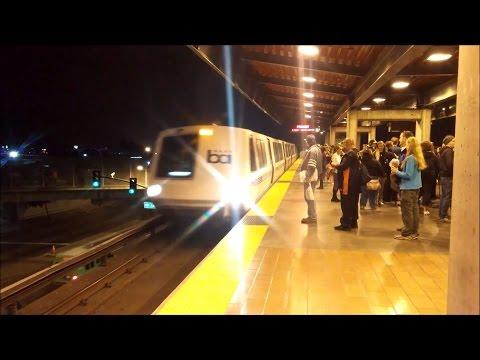 BART After An A's Game: Fremont & Dublin Pleasanton Trains Arriving & Departing Coliseum