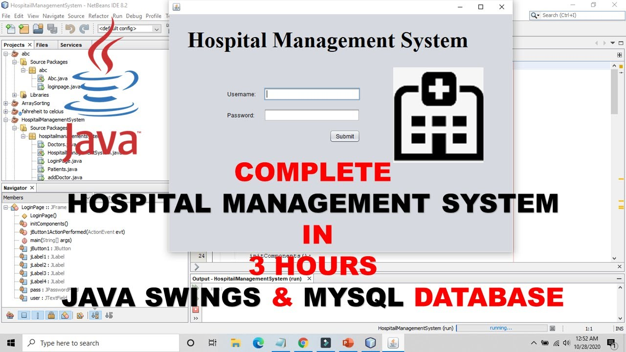 Complete Hospital Management System using JSWING & MYSQL DBMS in 3 hours! | TUITIONS TONIGHT.