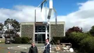 "Vertical Axis Wind Turbine (VAWT) Russian Design ""STRIBOG""   In action and spinning"