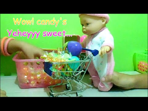 75053be1a4bb Baby Doll Push Cart Shopping Candy s - Kids Fashion Toys - YouTube