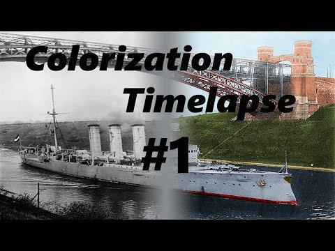SMS Dresden in the Kiel Canal - Colorization Timelapse - Photoshop
