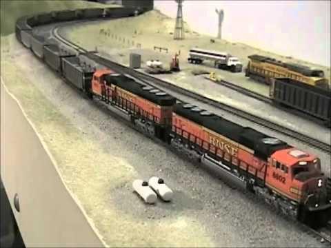 N Scale BNSF Orin Line 4×10 Model Railroad, video #2
