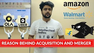 Acquisition and Mergers   Amazon or Walmart Acquiring Flipkart   Ola and Uber Merger   Hindi thumbnail