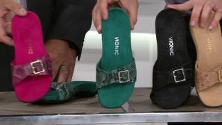 Vionic Orthotic Leather Slide Sandals - Santos on QVC