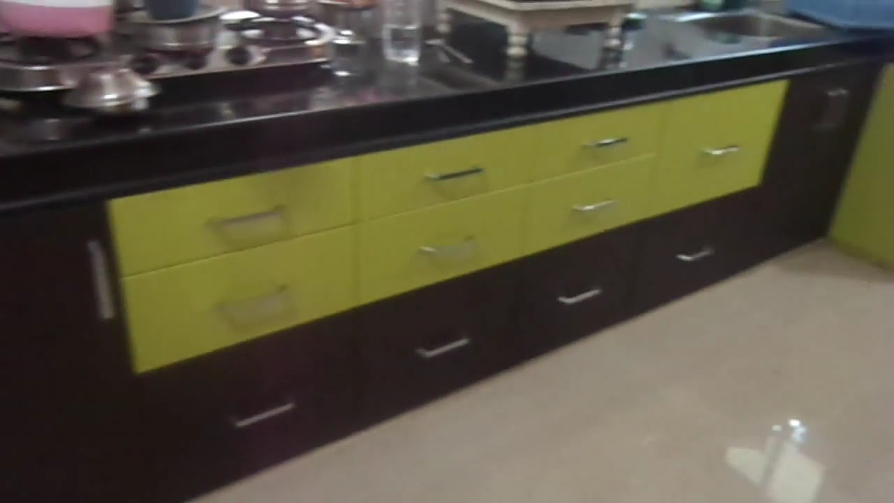 modular kitchen with lemon green and wenge colour ritesh ...
