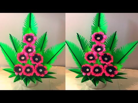making paper flower bouquet - paper flower bouquet craft - home decor ideas
