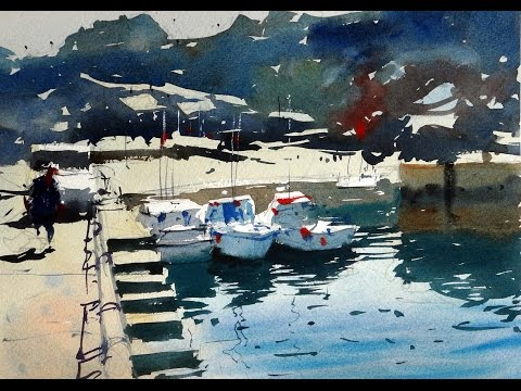 Watercolour Demonstration - How to paint boats in a harbour scene - #10
