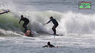 Foil Accident Involving Jeff Clark, Homer and Skyler The Surfing Dog and Beginning Surfer