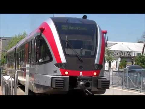 MetroRail Trains at Plaza Saltillo Station, Austin, TX
