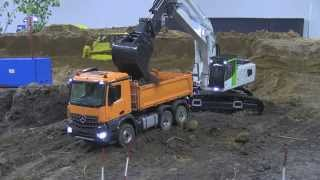 RC Truck Arocs 6x6 Dump Truck and Liebherr 956 - no sound
