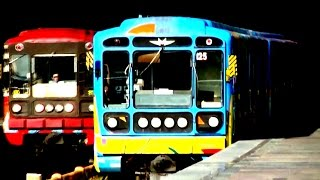 The meeting colored subway trains Встреча цветных составов метро