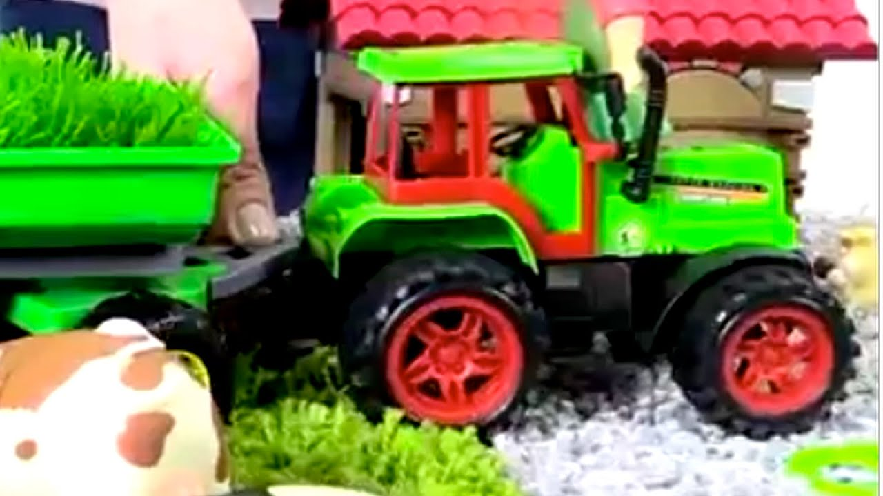learn farm domestic animals with toy tractor