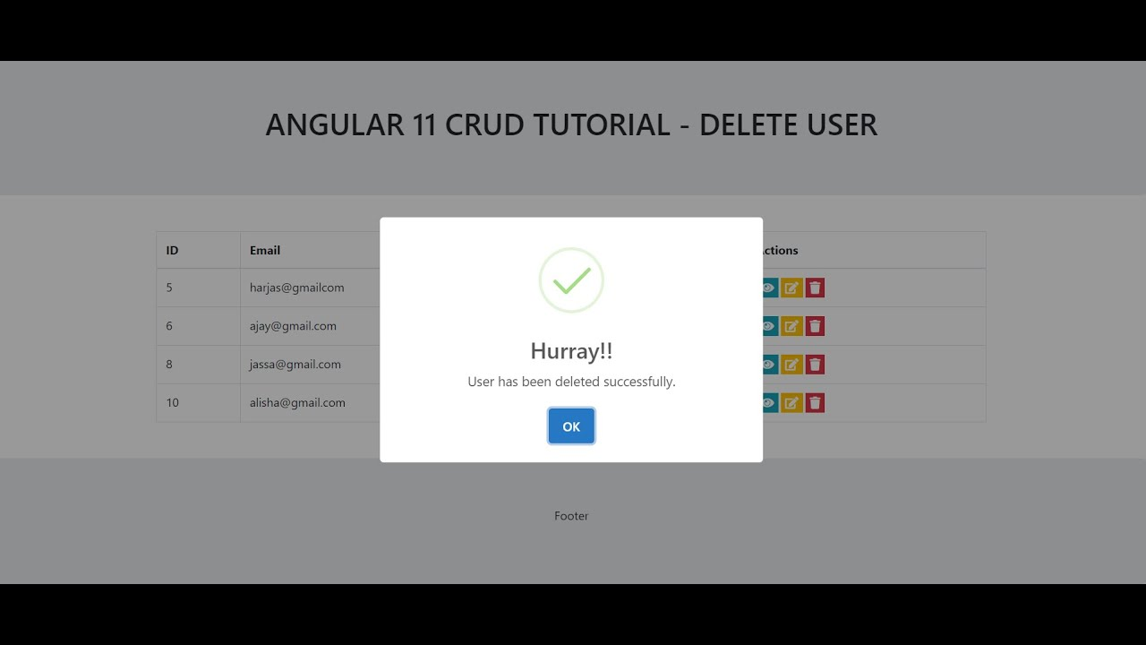 Angular 11 Crud Tutorial - Delete User