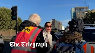 video: Driver en route to sick mother pleads with Insulate Britain protesters blocking four major routes in London