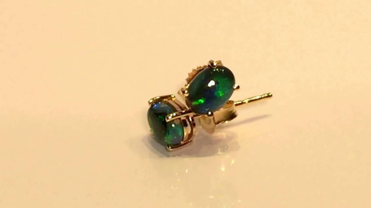 9k Yellow Gold Black Opal Stud Earrings