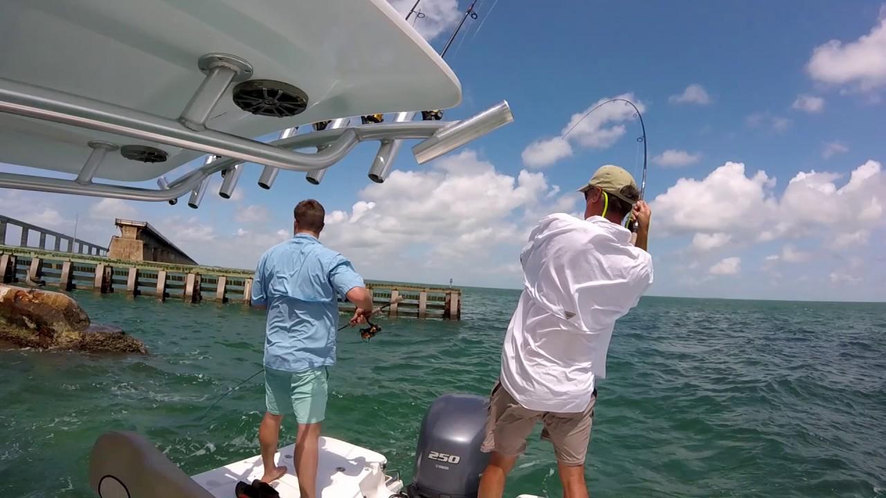 Florida keys fishing seven mile bridge jacks youtube for Florida keys bridge fishing