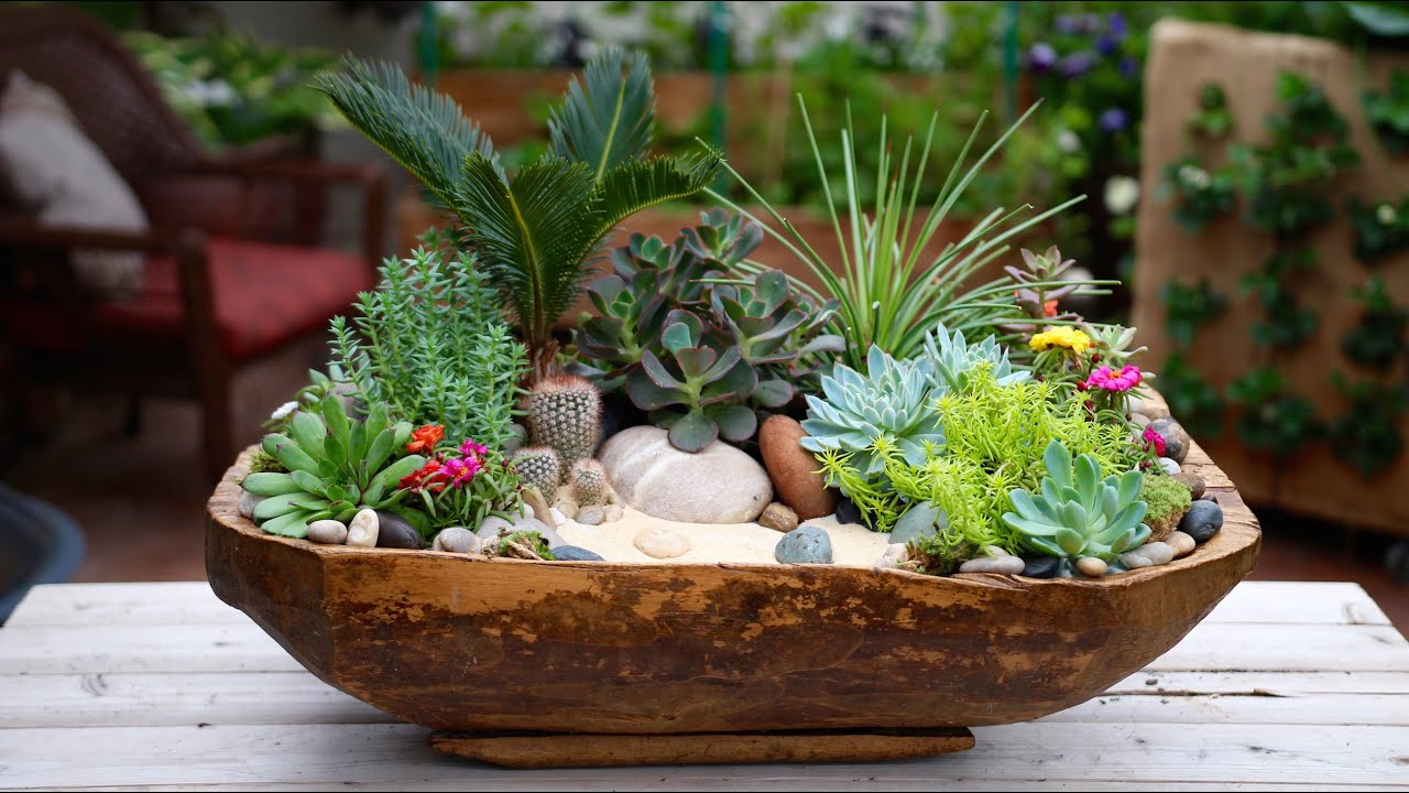Antique Dough Bowl Turned Succulent Planter YouTube